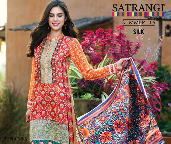Bonanza Silk Party Wear Dresses Satrangi Collection