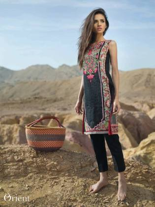 Net Lawn Embroidered Kurti Orient Textile Collection