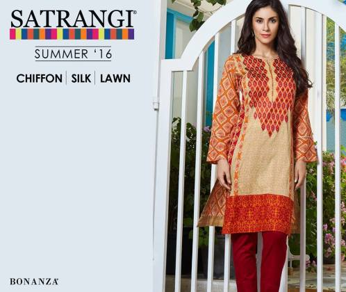 Satrangi Chiffon Silk Lawn Summer Collection