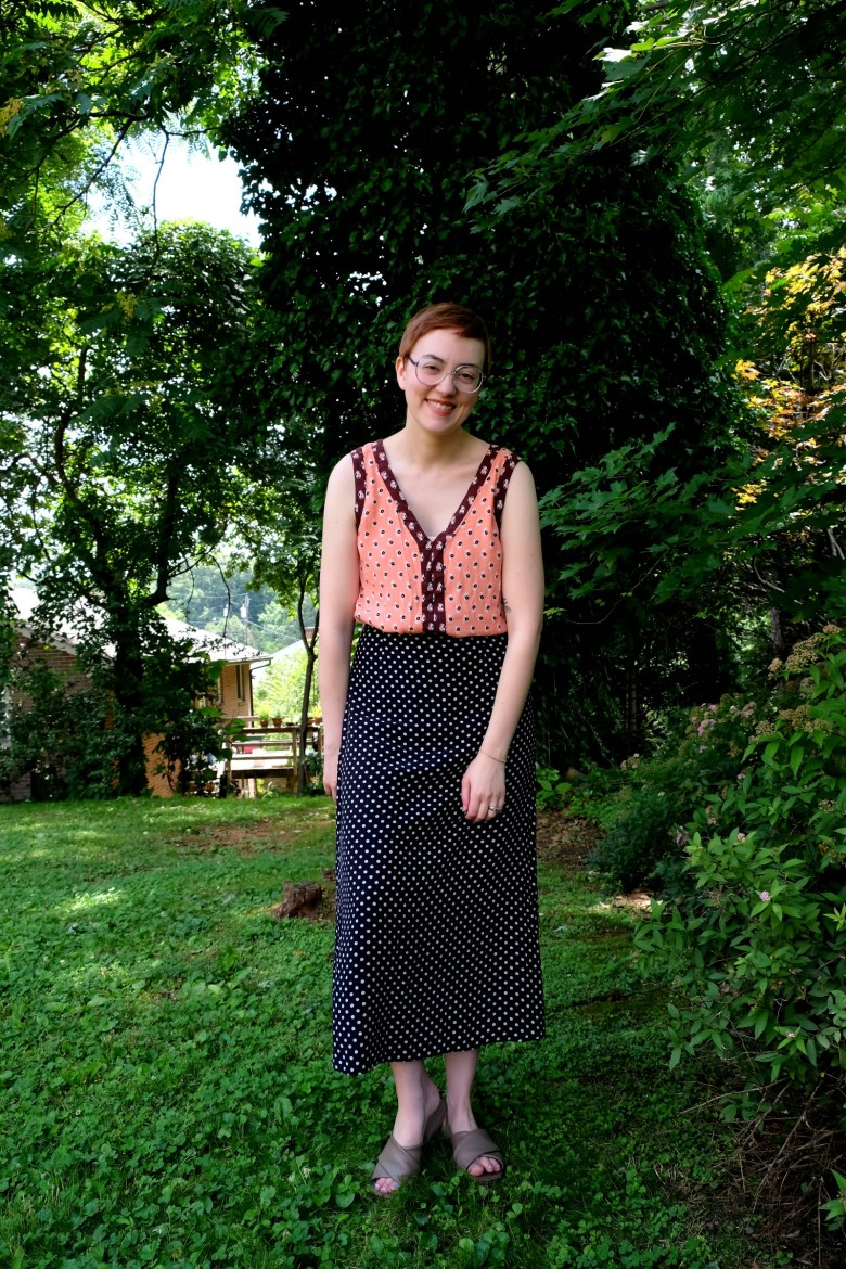 Ethical Details: Top and Skirt - thrifted; Sandals -  Everlane