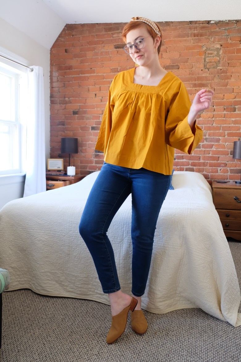 yellow Madewell top with jeans