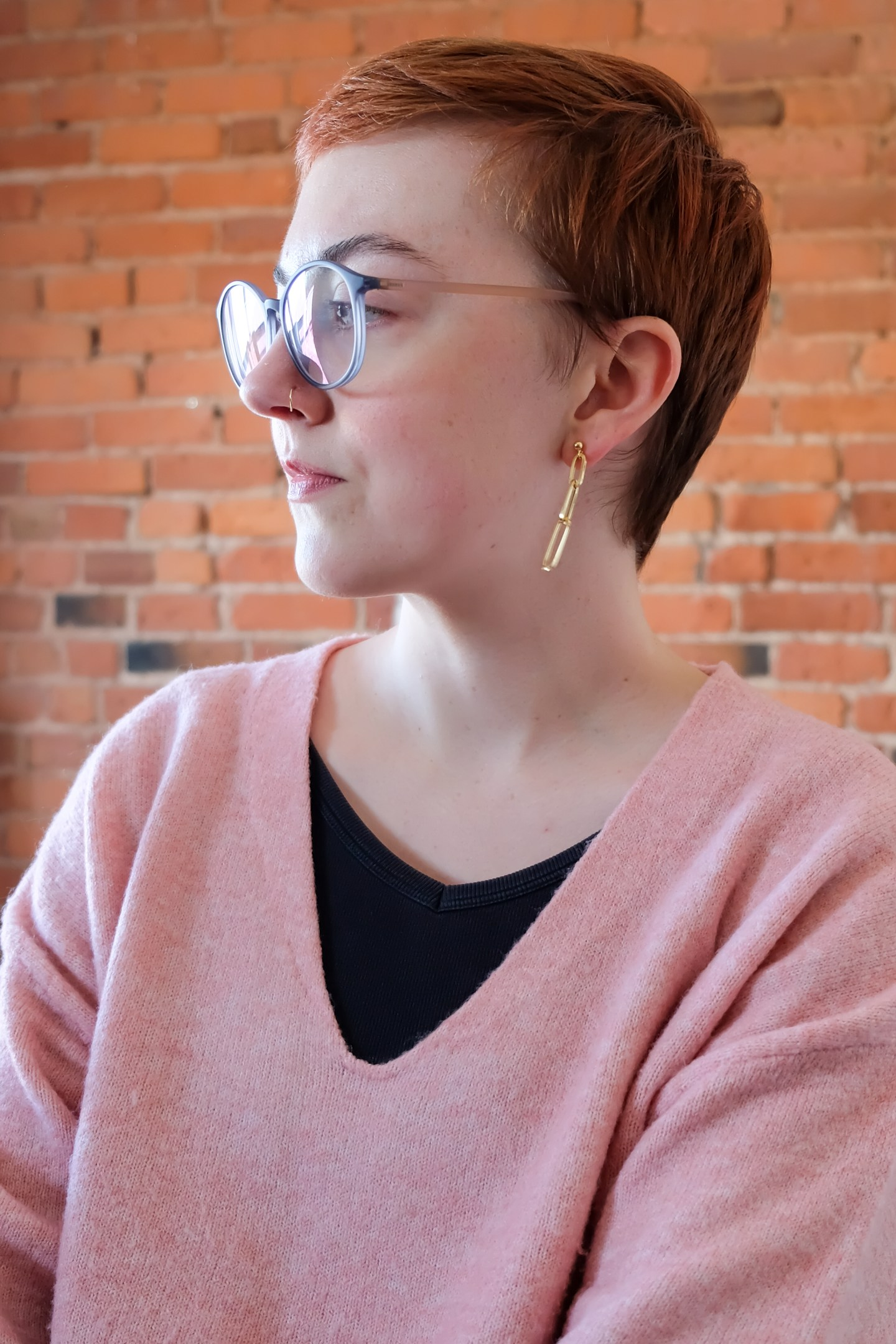 not quite spring pink sweater - Rellery chain drop earrings