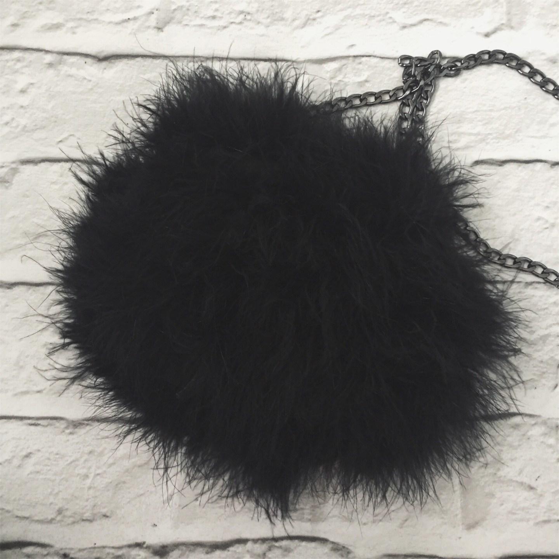 black riga marabou fluffy bag topshop