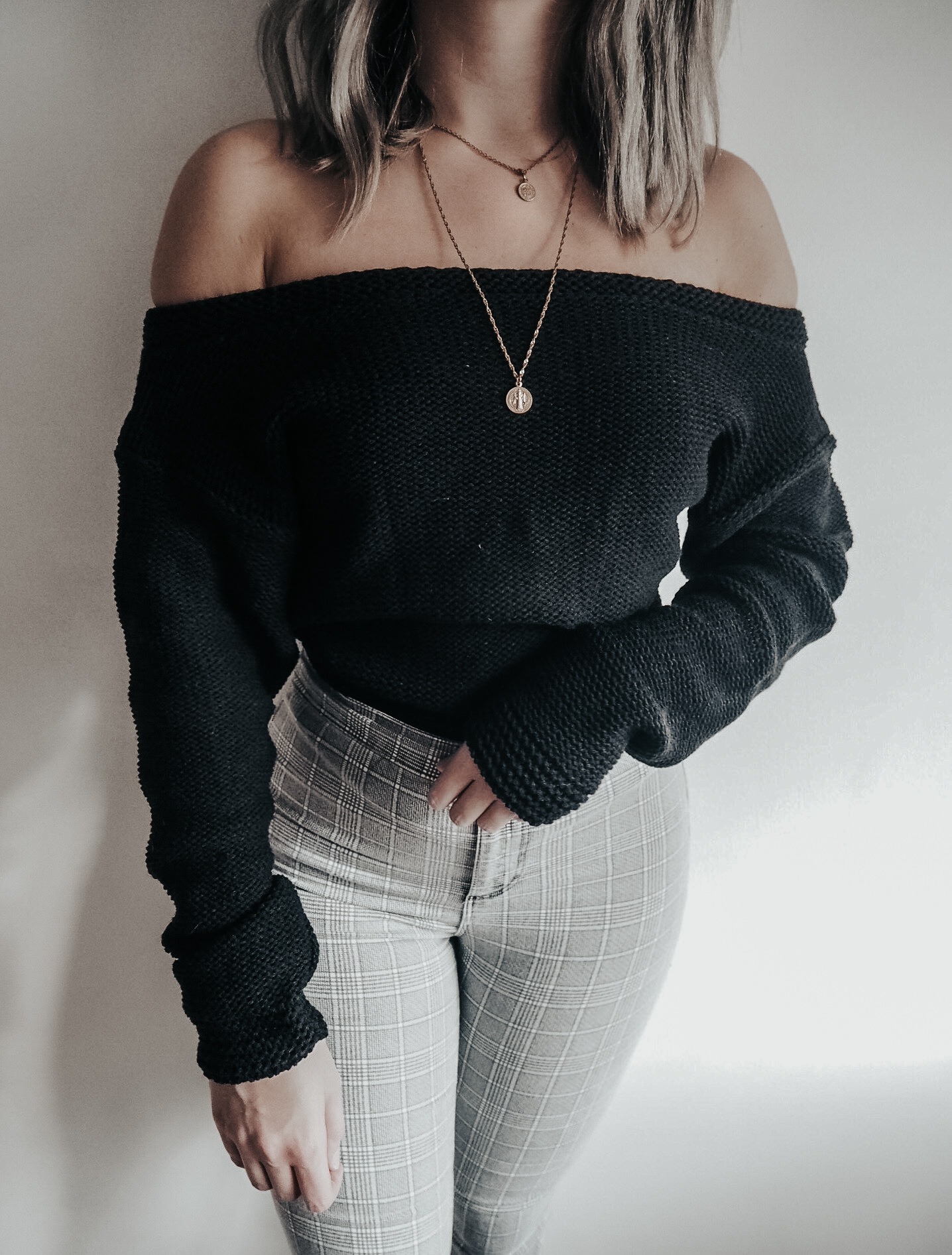 jumper, fashion blogger, off the shoulder black jumper, femme luxe, knitwear