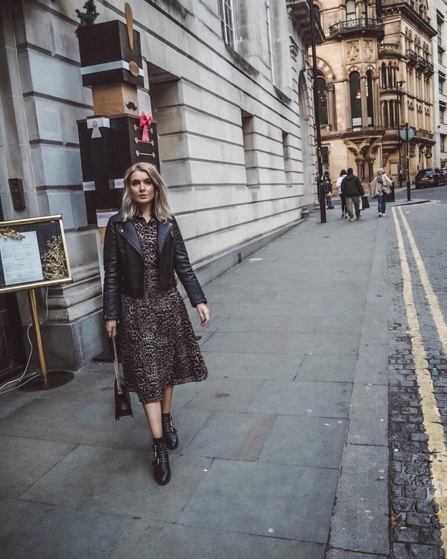 fashion blogger, leopard print dress warehouse, asos boots, topshop leather jacket