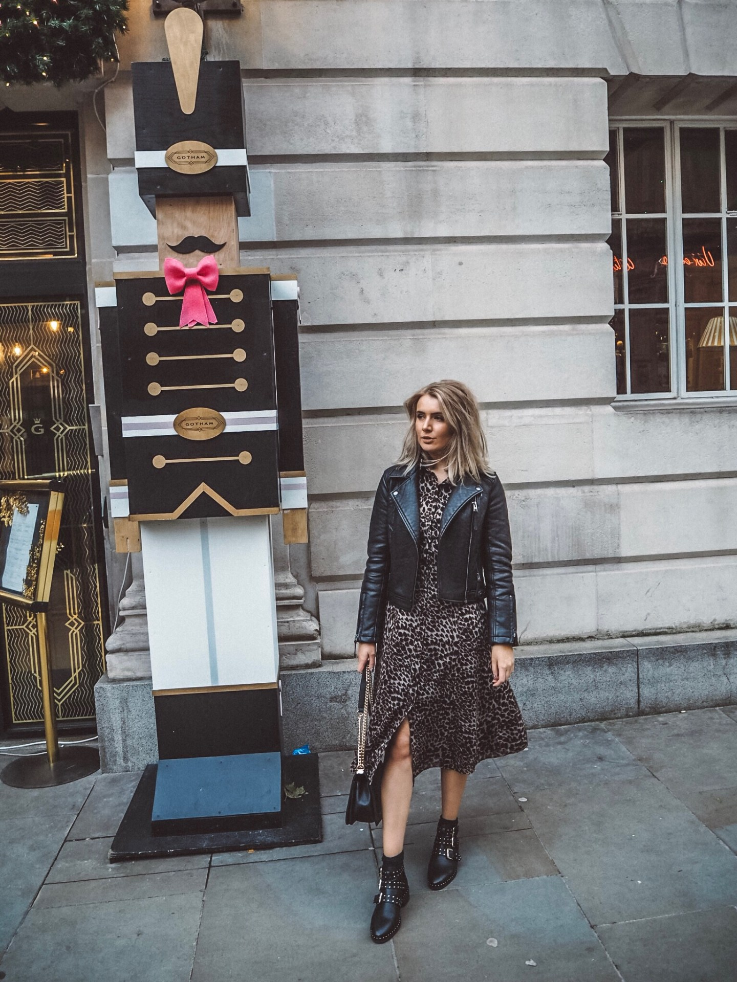 fashion blogger, leopard print dress warehouse, asos boots, topshop leather jacket