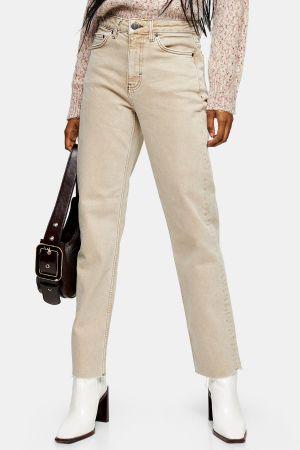 Sand Raw Hem Straight Jeans