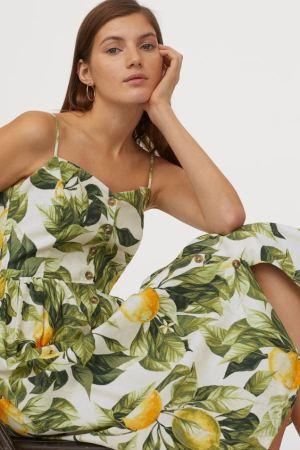 Lemon Print Linen-Blend Dress