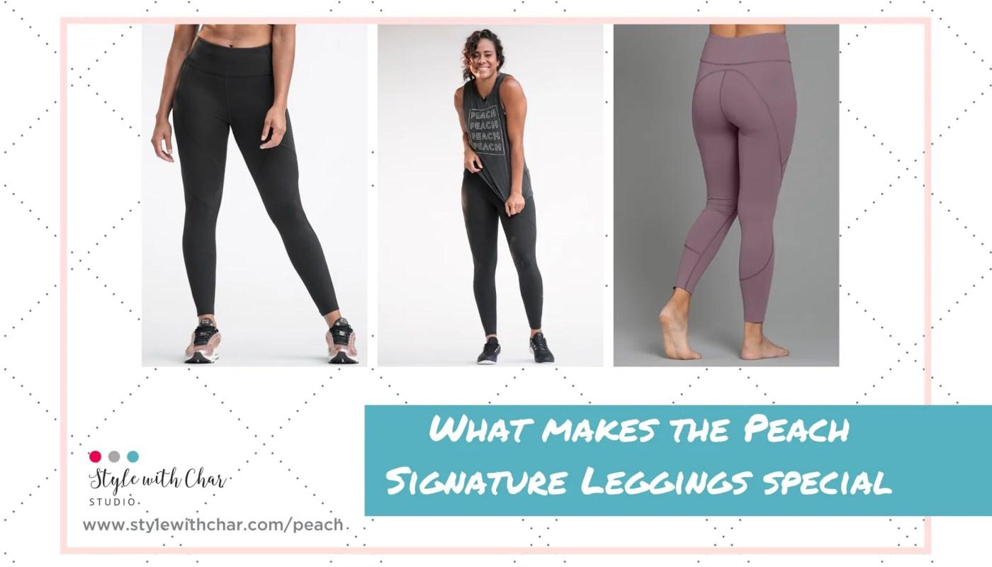 Peach Signature Leggings in black and hazy amethyst