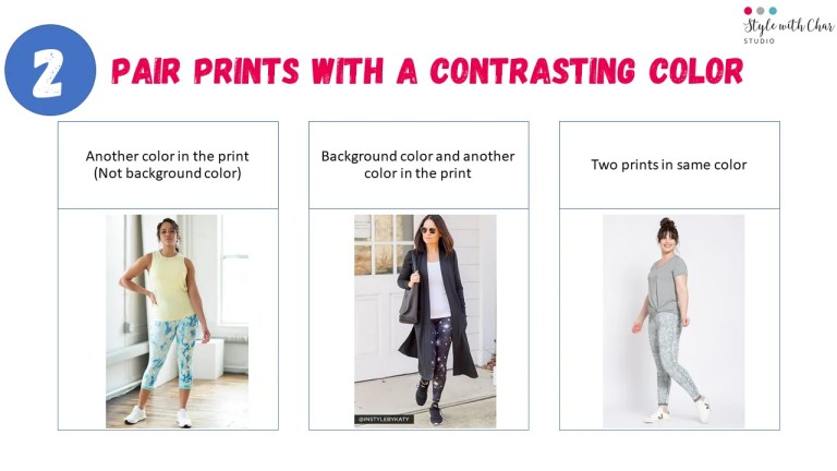 3 ways to pair prints with contrasting colors