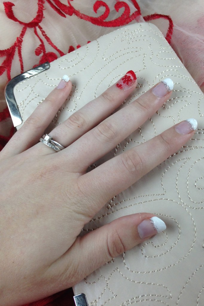 Red Lace French Tip Nails