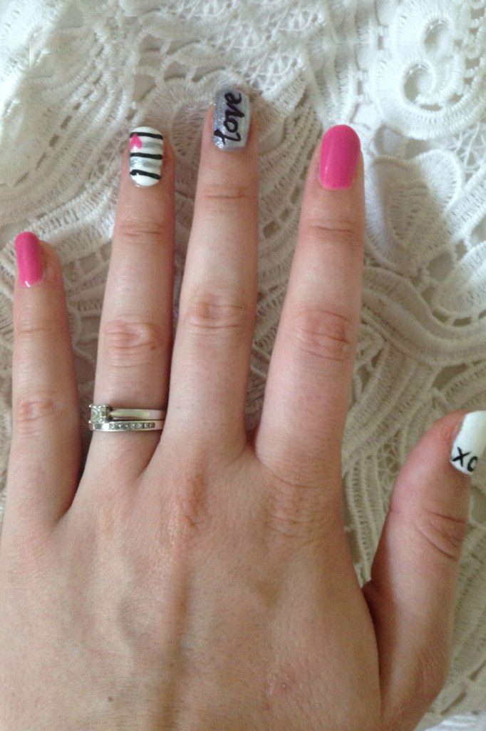 Valentine's Day Pink, Silver and White Nails