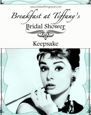 Breakfast at Tiffany's Bridal Shower Keepsake