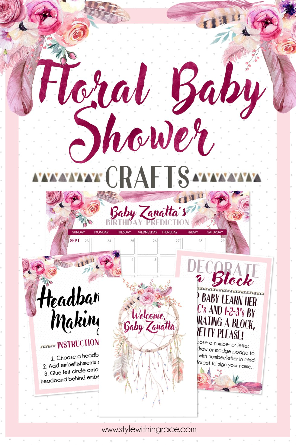 Floral baby shower craft ideas and inspiration to match your spring boho themed baby shower! Complete with free printables for a birthday prediction calendar, dream catcher fingerprint guest book, headband making station and decorate a block instruction sheets to help you DIY your perfect party with ease!