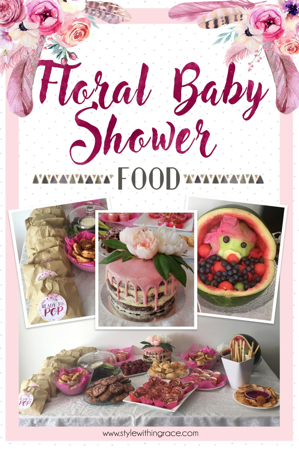 Food inspiration and recipes for a spring floral themed baby shower including free printable ready to pop labels!