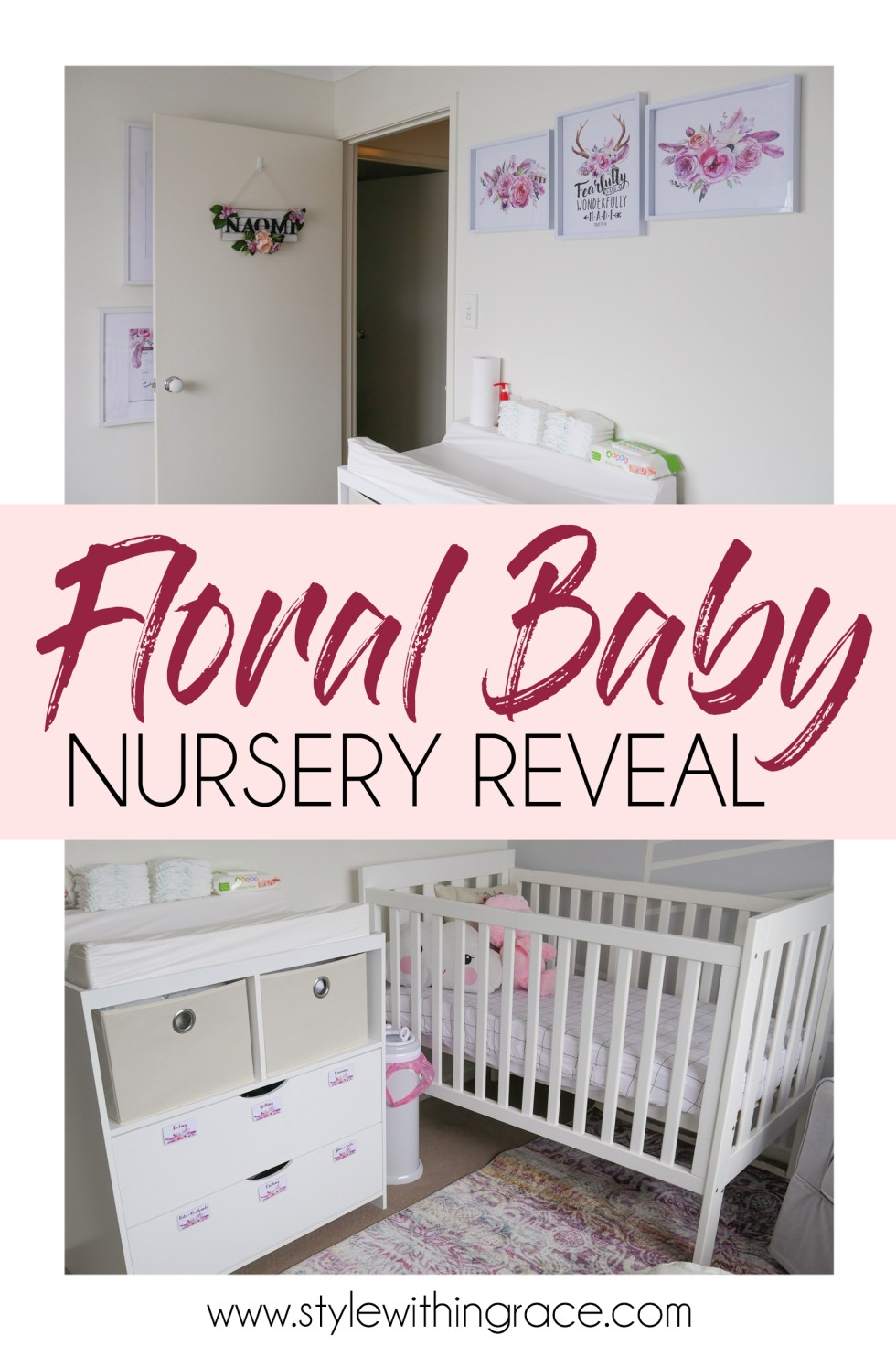 There's lots of ideas and inspiration for you in my boho floral baby girl nursery reveal. The perfect mix of pink, grey and white for a feminine but not too girly nursery design. Plenty of DIYs for the crafty mumma and a break down of my nursery organisation. #nurseryreveal
