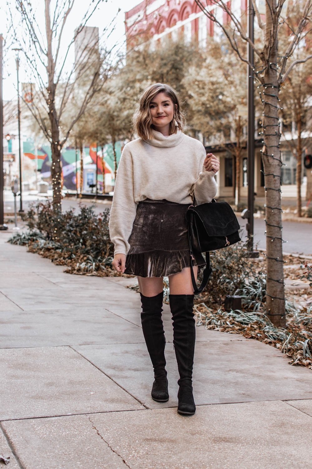 Work appropriate holiday party outfits. Ivory sweater and velvet skirt
