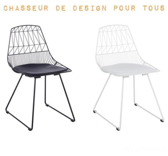 chaise design noir blanche confortable