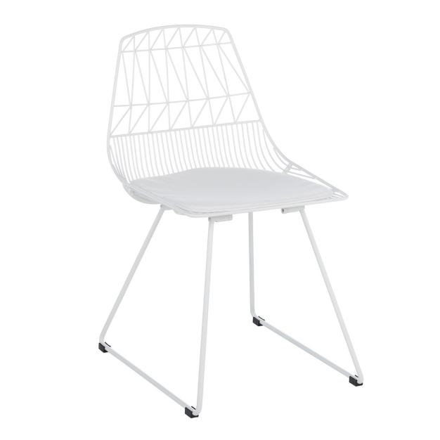 chaise assise rembourrée blanche lumineuse