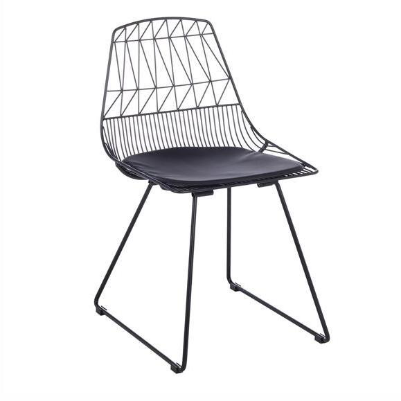 chaise design assise rembourrée noir