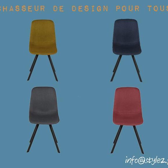 chaise karl en tissu jaune bleu gris et bleu