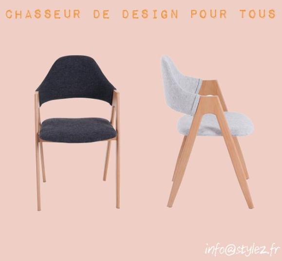 chaise tissu bois assise rembourrée