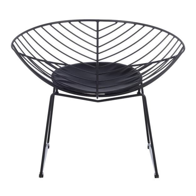 fauteuil assise rembourrée noir mate