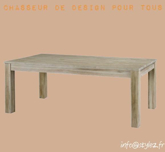 table teck gris beige clair