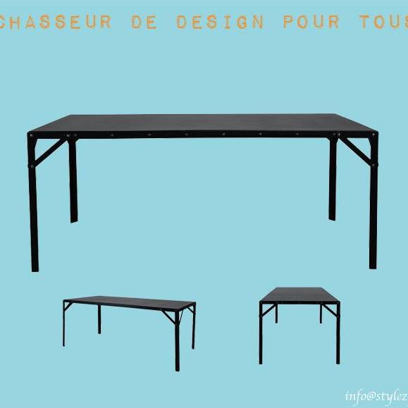 table longue indus vintage noir