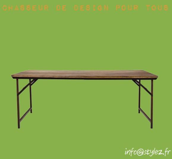 table vintage atelier plateau rectangulaire