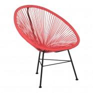 fauteuil rayé acapulco rouge