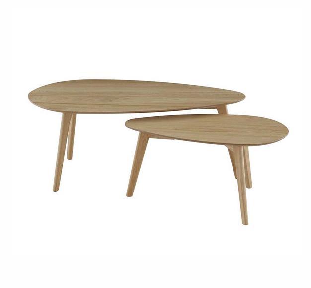 table basse double salon bois
