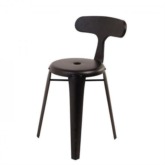 chaise industrielle métal noir
