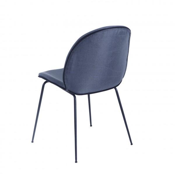 chaise velours bleu gris design