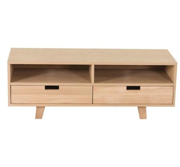 meuble bas bois tiroirs étagères