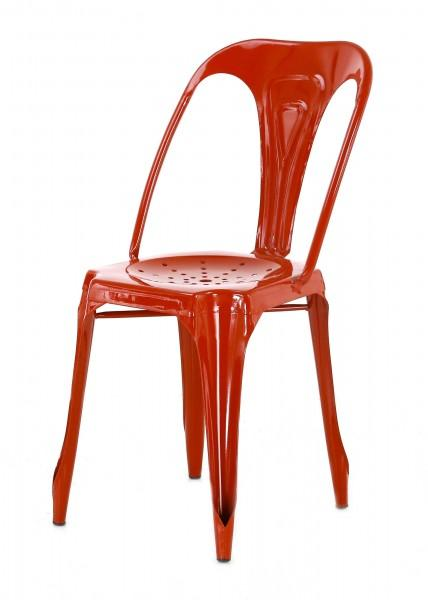 chaise dossier moderne industrielle rouge