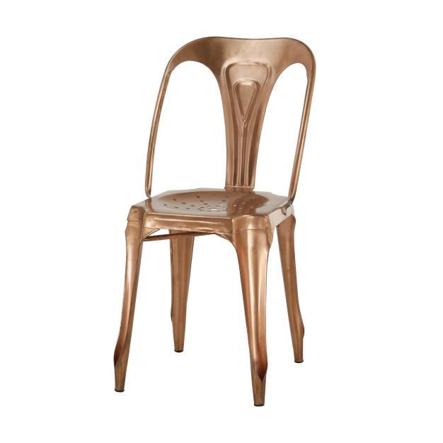 chaise acier marron gold design