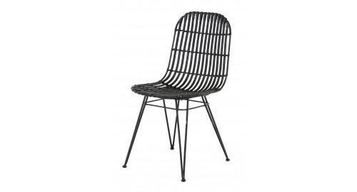 chaise noir rotin ligne design