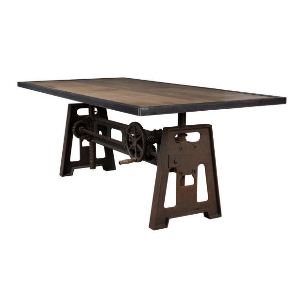 table industrielle mécanique bois foncé
