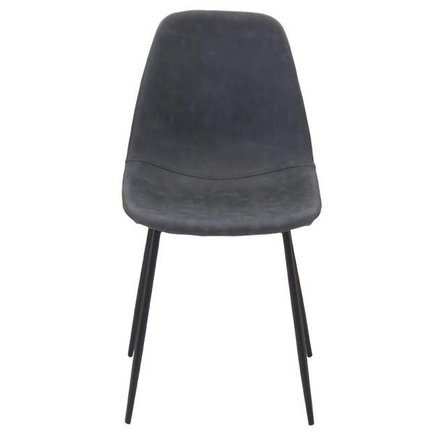 chaise assise grise pieds en métal noir