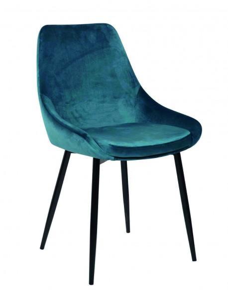 chaise velours assise rembourrée bleue