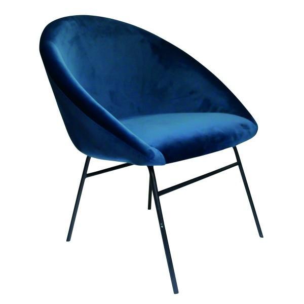fauteuil vintage chic velours bleu