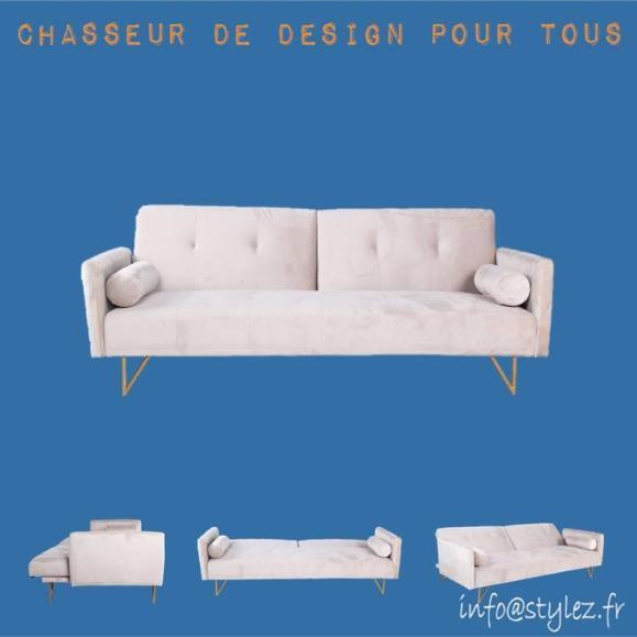 canapé lit chic velours blanc