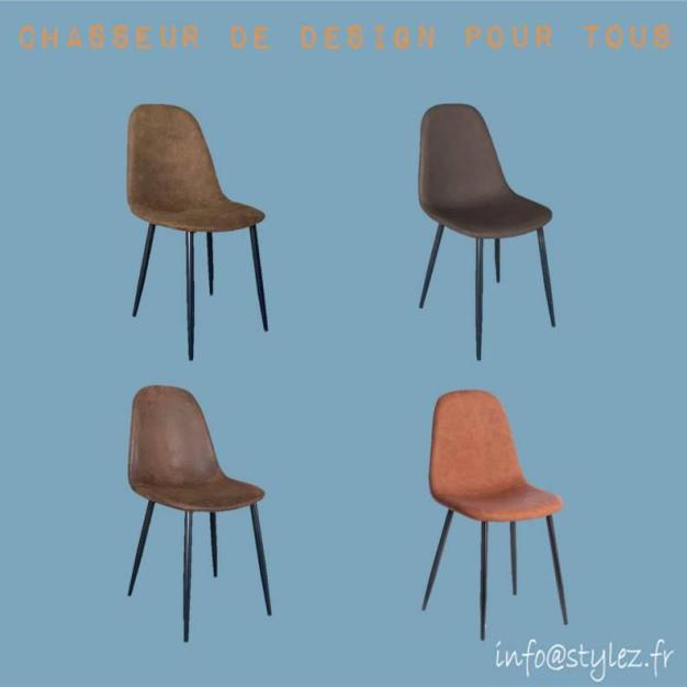chaise design simili cuir foncé