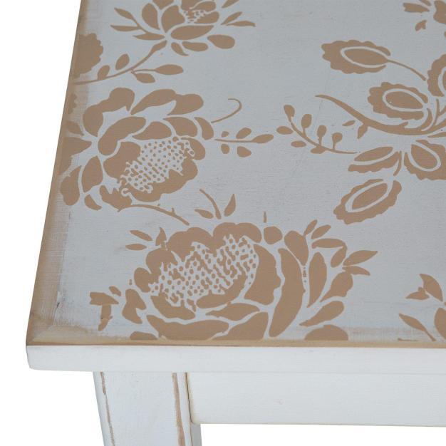 table carré blanche vieillie bois à motifs fleurs