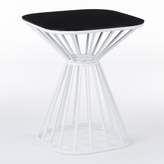 table pieds rayons blanche aluminium