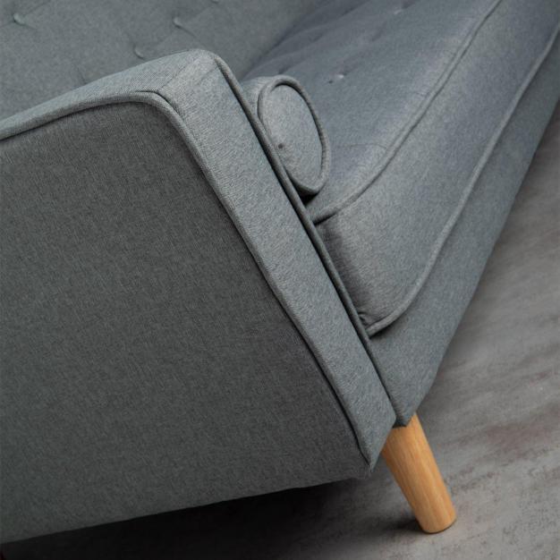 canapé lit vintage lin gris
