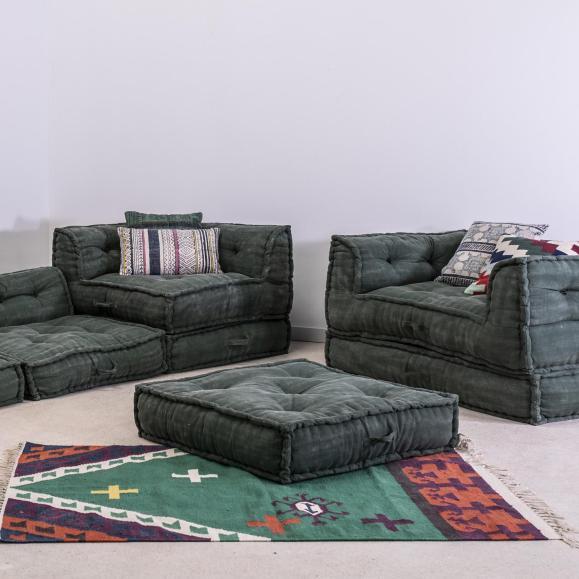 canapé modulable vert vieilli confortable