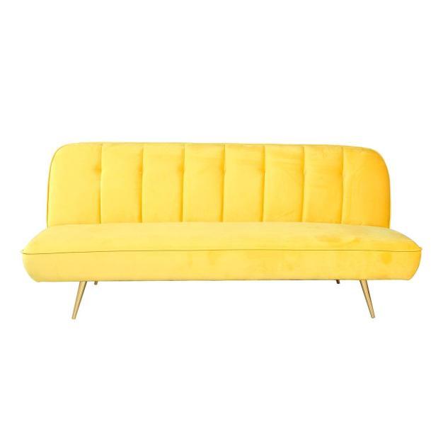 canapé transformable matelassé jaune foncé