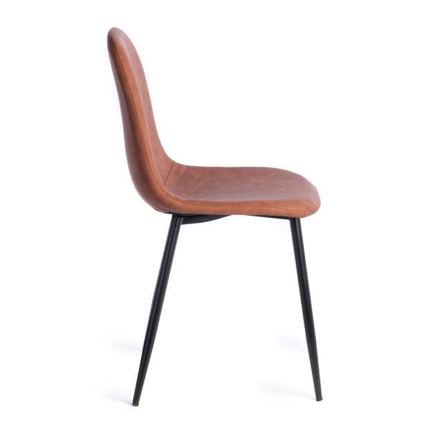 chaise design simili marron caramel